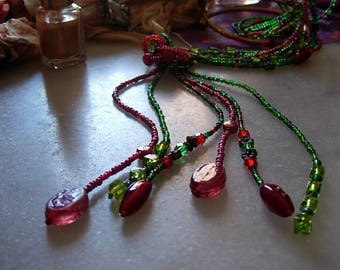fall colors necklace 3 strands