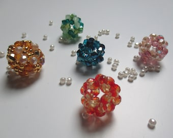 lot of 5 pretty pendants ball bead tops or glass Czech 4 mm fire polished