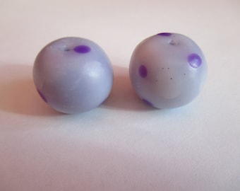 2 large beads handmade polymer clay and varnished