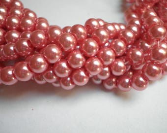 25 glass pearls pink 6 mm