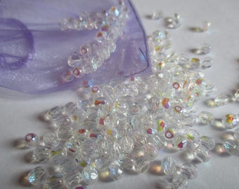 25 4 mm Crystal AB Czech faceted beads