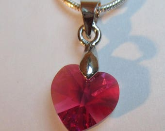 ♥ Lovely ♥ Fuchsia AB 10.3 x 10 mm Swarovski Crystal heart pendant