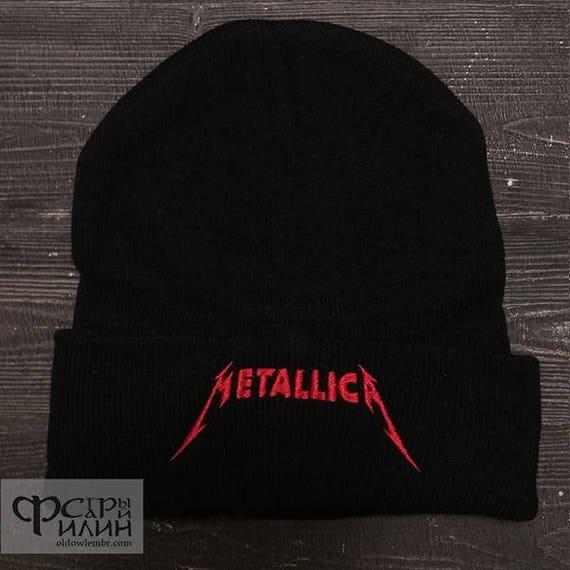 Knit Hat Metallica logo Heavy metal thrash metal Band Beanie  1d6a628ec2bf