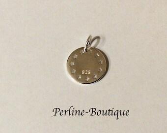 Silver round charm 925 11 * 15mm