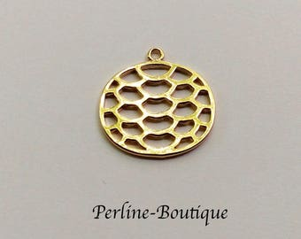21 * 20mm gold plated round charm