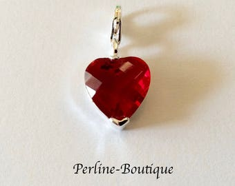 Red Crystal 925 sterling silver heart charm/pendant