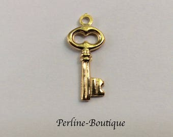 22mm 925 sterling silver gold plated key charm