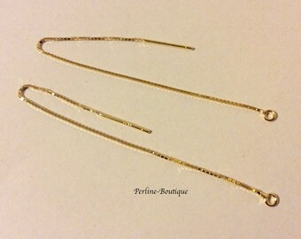 Chains of 90mm 18 k gold plated sterling silver earrings