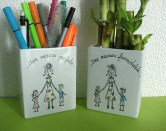 Nanny pencil holder, gift, personalized, original handpainted on porcelain.