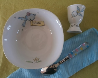 Personalized baptism gift, small dish Bowl-cereal + egg Cup. Hand painted porcelain.