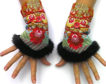 Bohemian fingerless gloves for women, ethnic mittens with fur, flowers, folkloric russian style