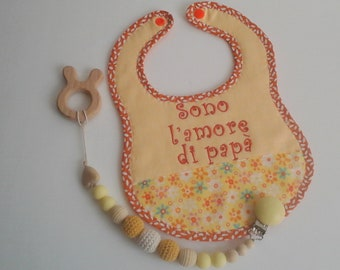 "Bib and Pacifier Set ""I'm Dad's love"" for Bimbo"