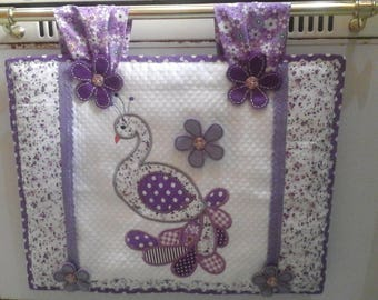 Cover the oven in shades of purple with Peacock embroidery