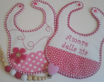 "Bibs Set and Pacifier ""love of the aunt"" for Bimbo"