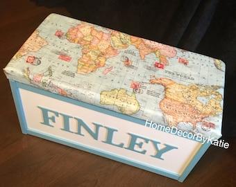 Toy box world map storage box blanket box world map blanket
