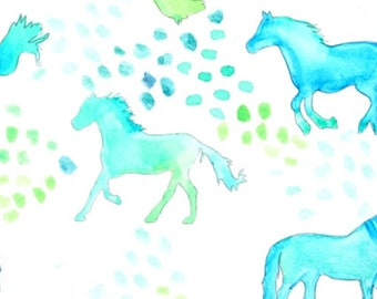 Blue horse fitted Crib green sheet buck outdoors baby cot sheet changing mattress receiving blanket baby gift new born Bedding
