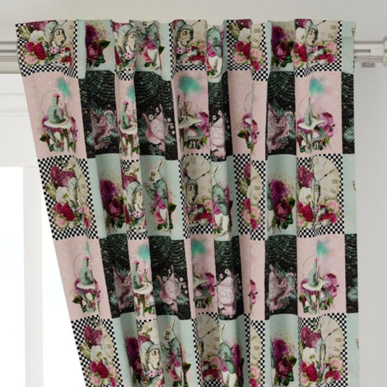 Alice in wonderland Curtains nursery drapes changing mattress receiving blanket baby gift new born Bedding