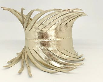 Champagne gold leather feather wrap cuff soft Italian leather cuff bracelet fringe cuff gold leather bracelet soft leather cuff