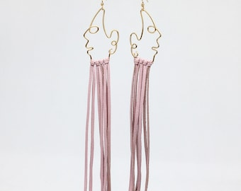 Blush leather fringe earrings leather tassel earrings leather jewelry leather fringe earrings lightweight leather earrings