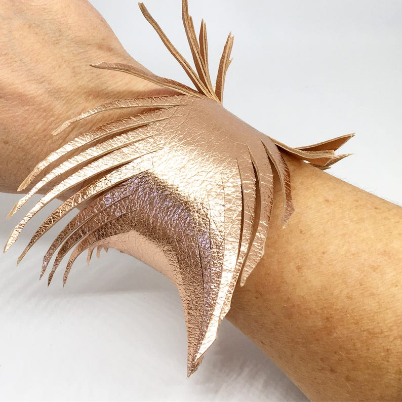 Rose gold leather feather wrap cuff wide leather cuff leather bracelet rose gold leather bracelet leather feather cuff soft leather cuff