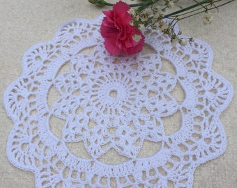 Crochet Lace Doily Table Decoration Knitted Round Doily Cotton Anniversary Gift For Her Boho Home Decor Mandala Doily Tea Time Accessory