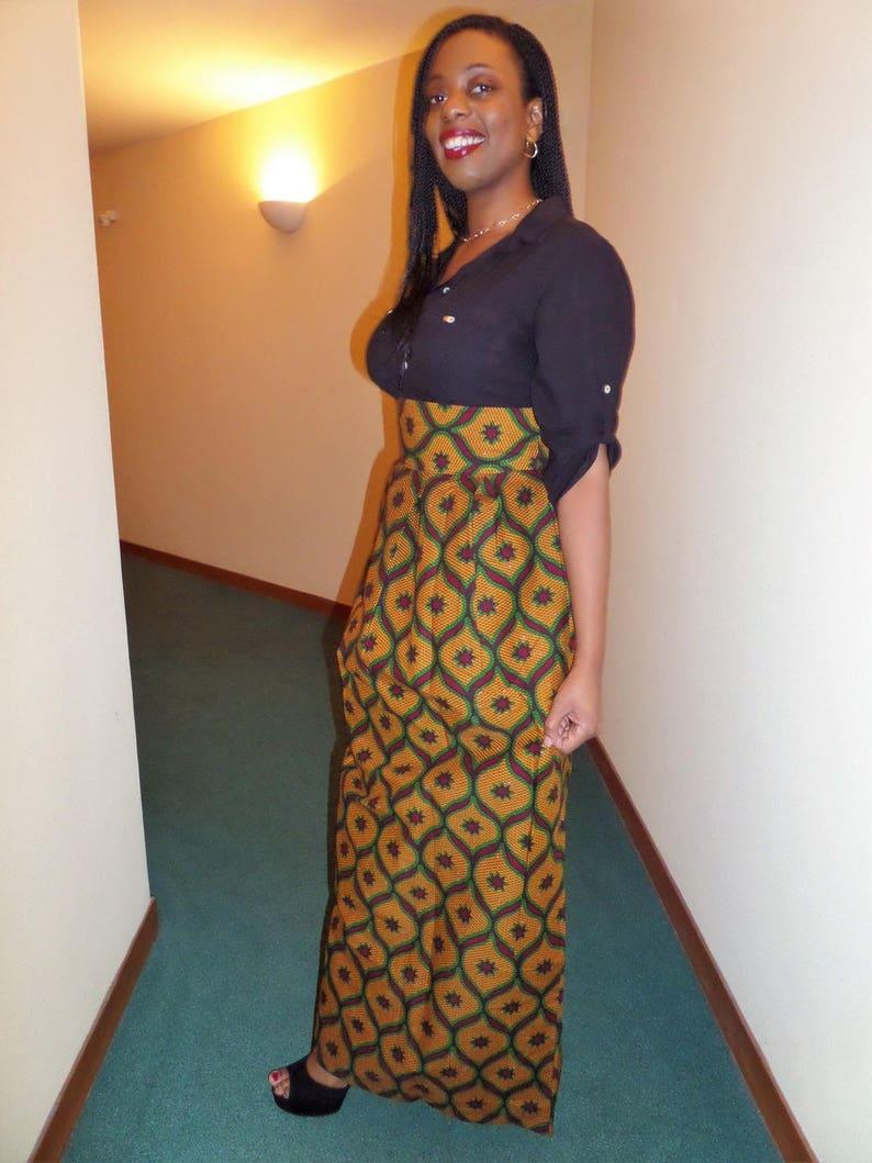 Jupe longue en wax pagne africain | Etsy