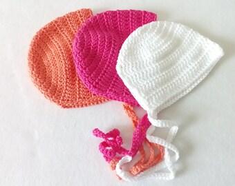 cf653a5baef5e Bonnet, béguin bébé rétro vintage crocheté main en coton spécial bébé à  l'aloé véra certifié oeko tex 100
