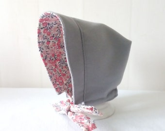 fcb3fab232a Béguin (3 6 mois) réversible en liberty of London wiltshire rose et drap de  laine gris