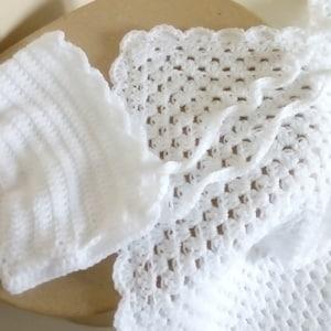 Merino Wool Crush pop corn crochet headband with flower and booties in blue boot shape duck new born
