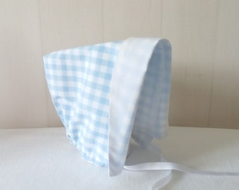 Hat/bonnet kids blue and white cotton gingham / checkered blue and white