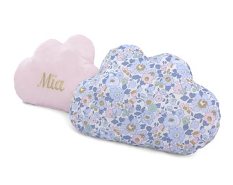 Custom cloud cushion embroidered in liberty betsy denim