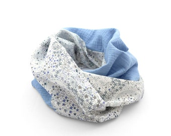 Spring Snood, light neck, double cotton gauze and liberty, for children or adults