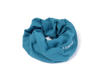 Personalised spring Snood, first name embroidery, light neck circumdading, double cotton gauze, for children or adults