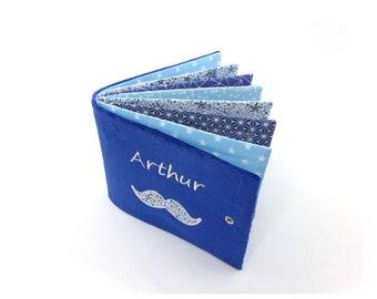 Custom fabric photo album, soft photo album, navy blue cover, blue fabrics and liberty adelajda blue, 8, 12 or 16 photos