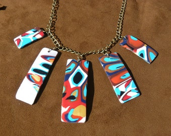 Necklace in Fimo, polymer clay, ethnic necklace, layering necklace, designer jewelry, ethnic, Bohemian, French creation