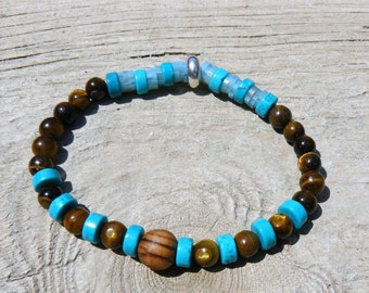 Mens bracelet turquoise, eye of Tiger and wood bracelet natural stones men gift men, mens bracelet, turquoise, wood, jewelry
