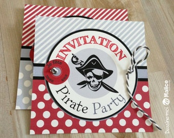 Invitation pirates party , anniversaire de pirate , 6 cartes