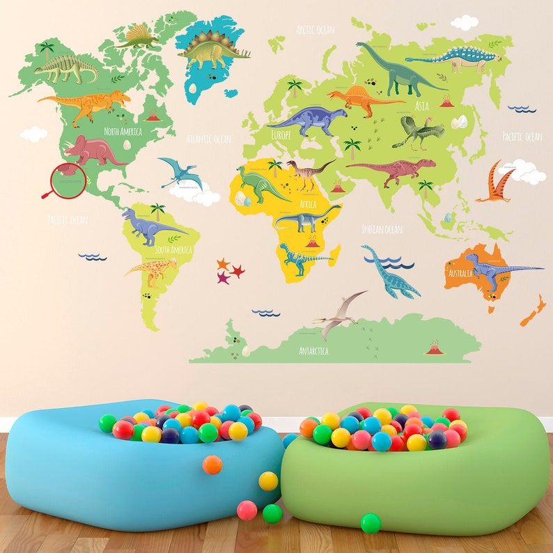 Removable Dinosaur Name World Map Wall Sticker Dinosaurs World Map Wall Decal