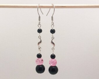 Silver plated earrings with black and pink beads and silver charms, stainless steel hooks