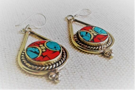 9c9111ef3 Ethnic earrings Nepal Tibet Himalayas Vintage Turquoise | Etsy