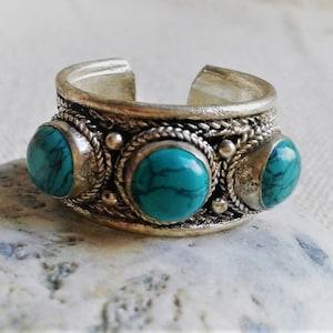 Ethnic ring Turquoise-ring N\u00e9pal-Tibet-Boh\u00e8me-Ethnic jewel