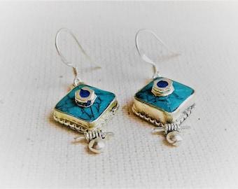Earrings Fine stones Turquoise Ethnic