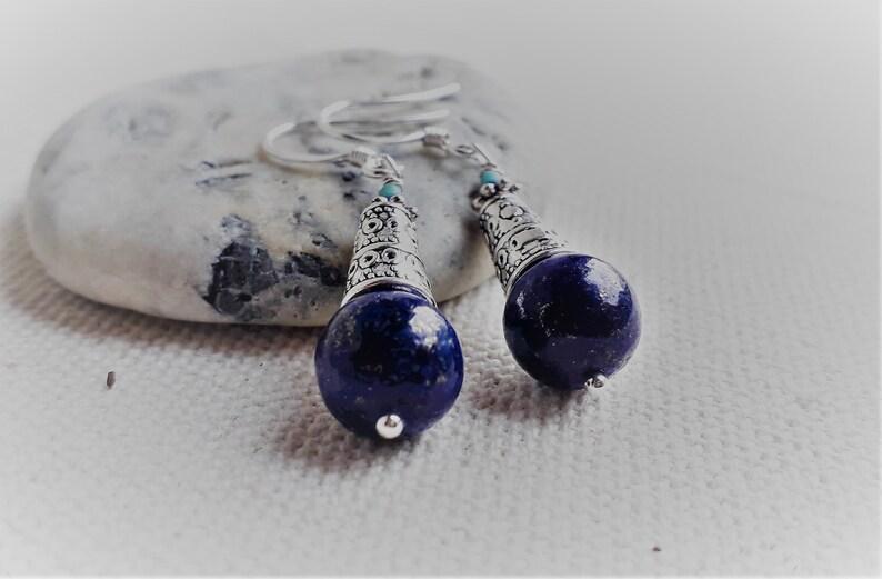 Ethnic Lapis Lazuli earrings Nepal