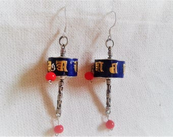 Nepal Tibetan earrings - jewelry-prayer-mill ethnic Nepal