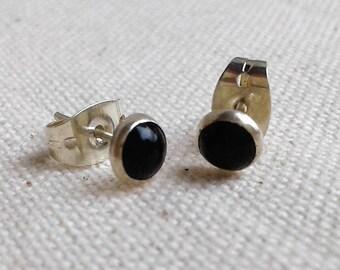 Black earrings Onyx Népal
