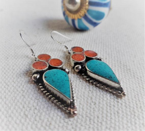 Ethnic Earrings  Nepal  Tibet  Vintage Boho  Stone Earrings by Etsy