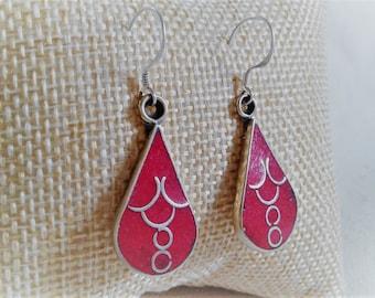 Earrings coral-ethnic - Tribal Boho jewelry - Nepal TIbet