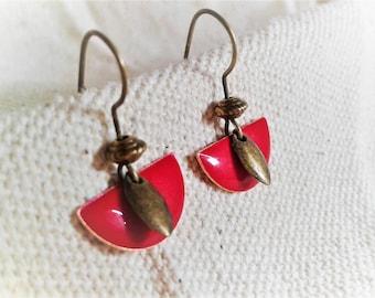 Small red modern earrings