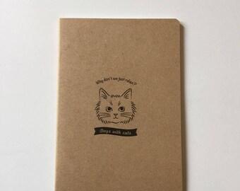 Small notebook Kraft cat pattern