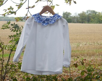LIBERTY blouse, Betsy lavender, festoon collar, mother-of-pearl flower buds 2/4/6/8/10 years